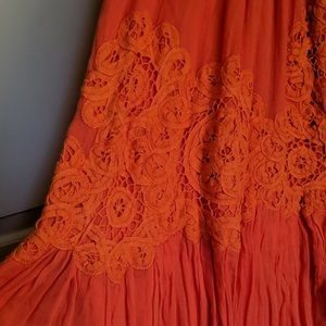 Floreat Anthropologie Sanoh Gauze Skirt orange S
